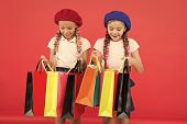Kids Cute Schoolgirls Hold Bunch Shopping Bags. Children Satisfied By Shopping Red Background. Obses poster