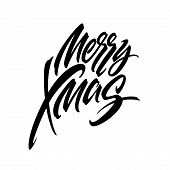 Merry Christmas Hand Drawn Calligraphy. Xmas Ink Lettering. Black Calligraphy On White Background. M poster