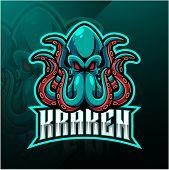 Kraken Octopus Sport Mascot Logo Design With Text poster
