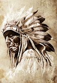 foto of indian chief  - Sketch of tattoo art - JPG