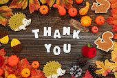 Colorful Autumn Decoration, Text Thank You, Wooden Background poster