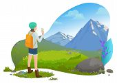 Traveler Or Tourist, Girl Filming On Smartphone In Mountains, Vector. Hiker, Woman With Backpack And poster