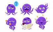 Cute Glossy Octopus Character Set, Funny Sea Creature Showing Various Emotions Vector Illustration poster