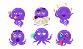 Cute Purple Glossy Octopus Character Set, Funny Sea Creature Showing Various Emotions Vector Illustr poster