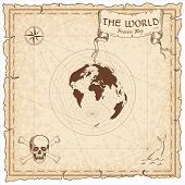 World Treasure Map. Pirate Navigation Atlas. Azimuthal Equidistant Projection. Old Map Vector. poster