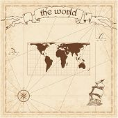 World Pirate Map. Ancient Style Navigation Atlas. Cylindrical Equal-area Projection. Old Map Vector. poster
