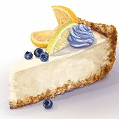 Vector Piece Of Cheesecake With Airy, Tender, Delicate Creamy-curd Cheese. Crisp, Crumble Cake With  poster