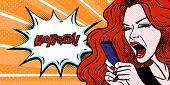 Comic Style Girl Angry At Her Phone Message And Swearing, Beautiful Young Redhead Woman, Pop Art, Ve poster