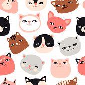 Funny Cats Seamless Pattern. Pet Vector Illustration. Cartoon Doodle Animals Background. Cute Kitten poster