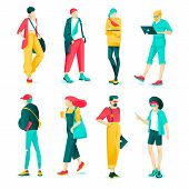 Poster Set Fashion Characteristic Young People. Modern Guys And Girls Are Dressed Fashionable Clothe poster