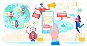 Messaging Application For Smartphone, Mobile E-mail Service Flat Vector Concept With Spam Robot Mail poster