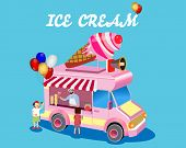 A Vector Illustration Of Kids Buying Ice Cream At An Ice Cream Stand. Pink And Colorful Ice Cream Se poster