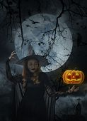 Halloween Witch With Pumpkin Monster Head Over Cross, Church, Crow, Birds, Dead Tree, Full Moon And  poster