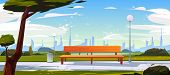 Bench In Park, Summer Time Landscape With City View Background, Empty Public Place For Walking And R poster