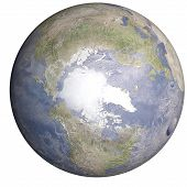 Global Cooling On The Planet Earth With Shadow Of Solar System Isolated On White Background. North P poster