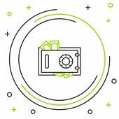 Black And Green Line Safe And Money Icon Isolated On White Background. The Door Safe A Bank Vault Wi poster