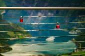 Tourism Vacation And Travel. Lock Padlock On Bridge Rail And View Over Geiranger Fjord From Flydasju poster