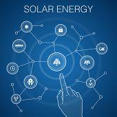 Solar Energy Concept, Blue Background.sun, Battery, Renewable Energy, Clean Energy Icons poster