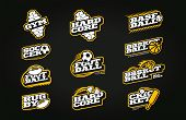 Retro Style Sport Logo Set. Modern Professional Typography Soccer, Baseball, Rugby, Football, Gym, B poster