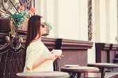 Woman In Sunglasses Drink Coffee Outdoors. Girl Relax In Cafe Cappuccino Cup. Caffeine Dose. Coffee  poster