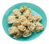 Dumplings On A Turquoise Plate Isolated On White Background .boiled Dumplings.meat Dumplings Top Sid poster