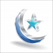 pic of crescent-shaped  - 3d Glossy Crescent Star Vector Icon Illustration - JPG