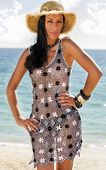 picture of braless  - View of a beautiful woman in transparent dress in the beach bathed by the sunny rays of Summer - JPG