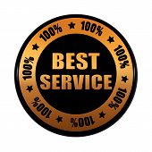 Best Service 100 Percentages In Golden Black Circle Label