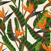 stock photo of bird paradise  - Spring time contemporary bird of the paradise flowers seamless pattern - JPG