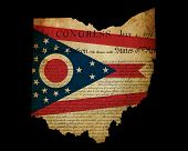 Usa American Ohio State Map Outline With Grunge Effect Flag Insert And Declaration Of Independence O