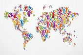 stock photo of continents  - Multicolored diversity people in Globe map shape isolated - JPG