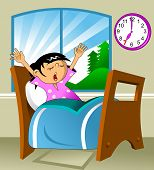 picture of nighties  - Little girl woke up in a nightie and yawns - JPG