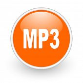 mp3 orange circle glossy web icon on white background