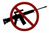 stock photo of allowance  - A rifle and a Not Allowed Symbol Ban on rifles - JPG