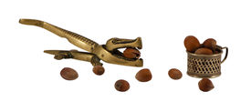 picture of cobnuts  - steel crocodile nut hull shell crush tool and small cup full of ripe cobnuts isolated on white - JPG
