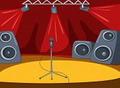 Rock&Roll Stage with Musical and Light Equipment. Vector Cartoon  Background.