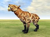 stock photo of saber-toothed  - Computer generated 3D illustration with the prehistoric Saber - JPG