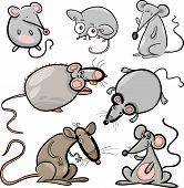 Mice And Rats Set Cartoon Illustration