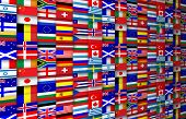 stock photo of japanese flag  - Colorful flags of the world background illustration - JPG