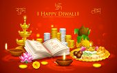 stock photo of ganpati  - illustration of Happy Diwali background with puja thali - JPG