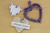 Friends forever card with wooden, wicker and canvas hearts
