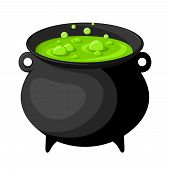 foto of cauldron  - Vector old black witches cauldron with green potion isolated on white - JPG