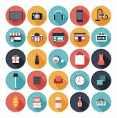 stock photo of e-business  - Modern flat icons vector set with long shadow effect in stylish colors of shopping objects and items - JPG