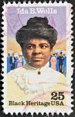A stamp printed in USA shows Ida B. Wells black heritage serie