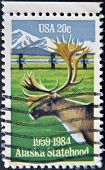 United States - Circa 1983: Stamp Printed In Usa, Shows Caribou And Alaska Pipeline, Circa 1983