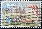 Usa - Circa 1964: A Stamp Printed In The Usa Shows Nevada Statehood, 1864-1964, Circa 1964