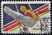 Stamp Printed In Usa From The Los Angeles Olympics 1984 Issue, Showing A Flying ings athlete