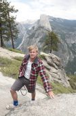 Young English Tourist At Glacier Point In Yosemite poster