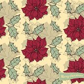 stock photo of poinsettia  - Christmas card seamless pattern with poinsettia flower and leaves and label - JPG