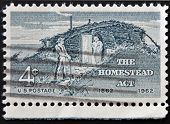 Usa - Circa 1962 : A Stamp Printed In The Usa Shows The Homestead, Circa 1962